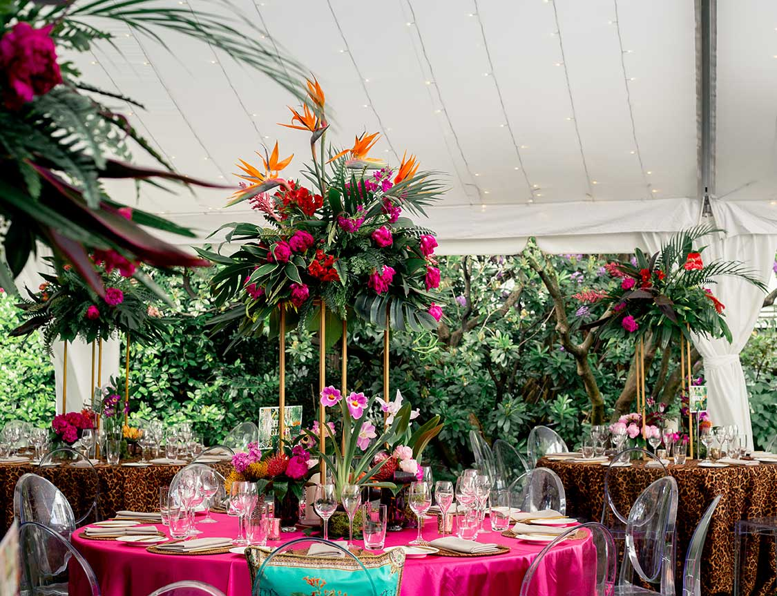Tropical themed birthday party table feature pieces