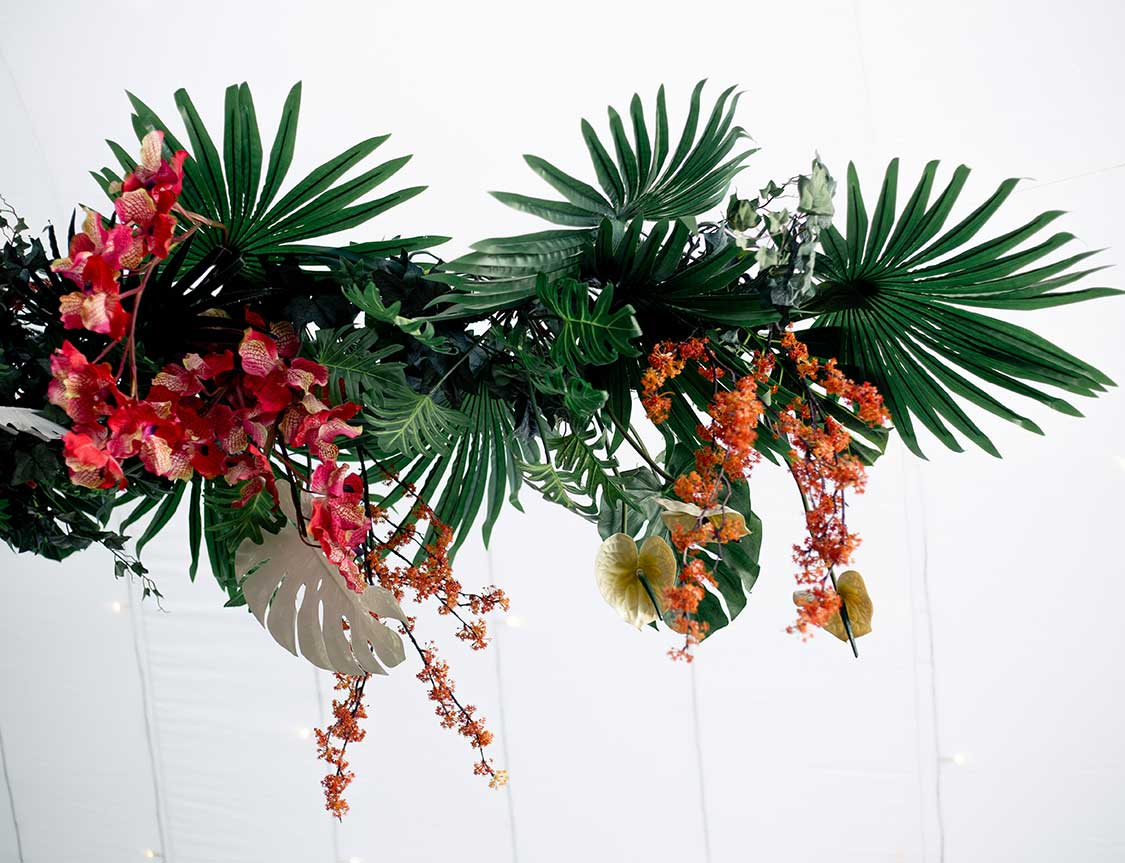 Marquee ceiling tropical flowers