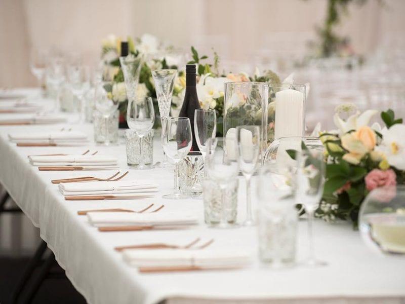 Wedding tables elegantly set out