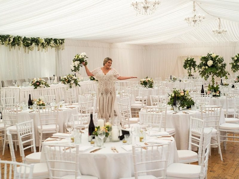 Beautiful bride Jess in her marquee