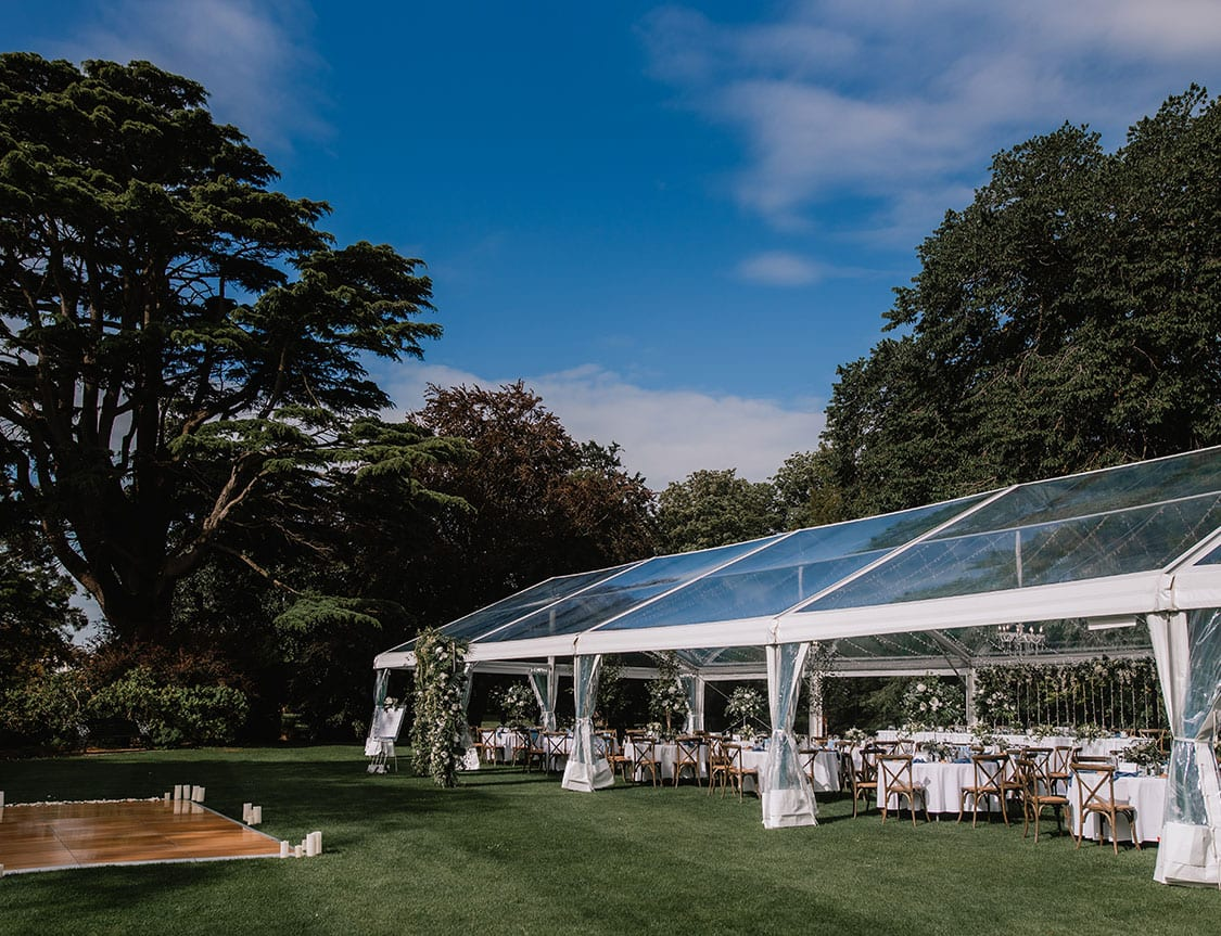 Elegantly styled clear marquee at Mona Vale