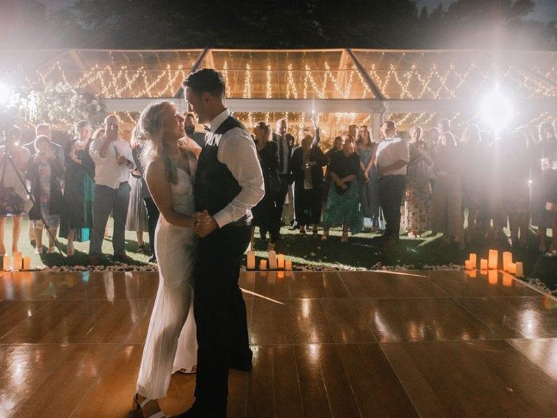 Beautiful married couple dance on the outdoor dance floor