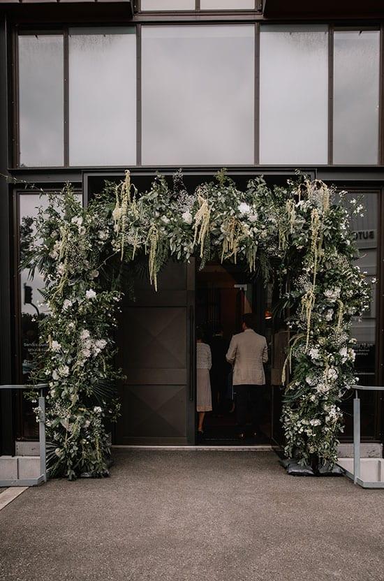 Gorgeous wedding arch entrance to Knox Church wedding
