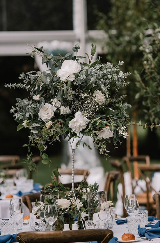 Wedding table feature pieces by Kim Chan Events