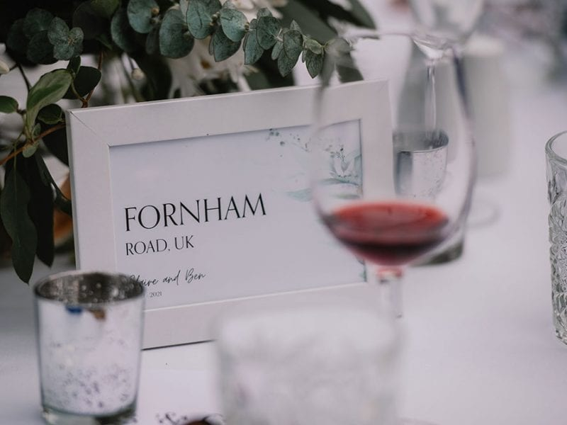 Candles, flowers and table names